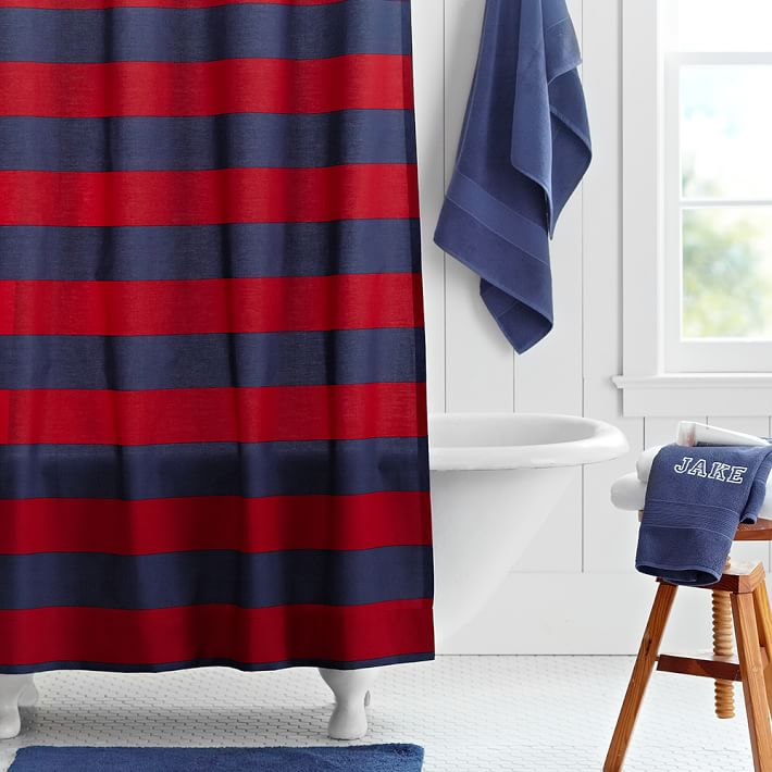 Navy Red Rugby Stripe Teen Shower, Rugby Stripe Curtains