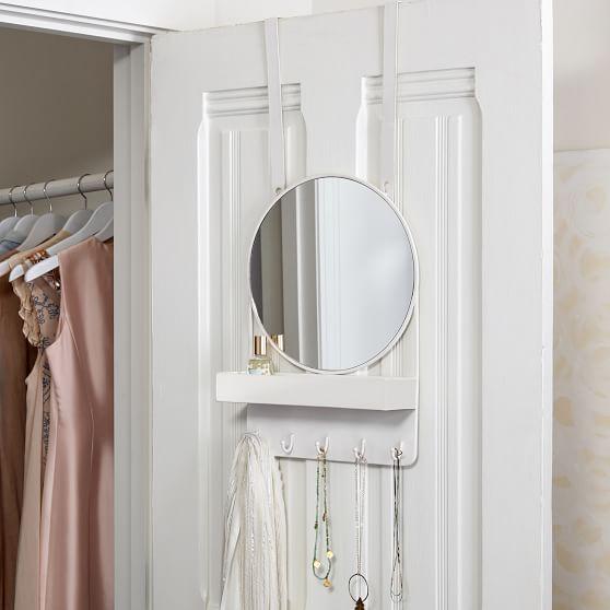 Over The Door Mirror With Storage, Over The Door Mirror With Jewelry Storage