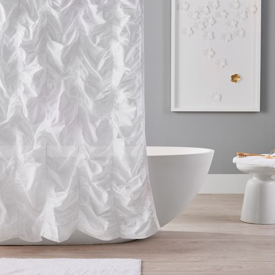 Ruched Linen Teen Shower Curtain Pottery Barn