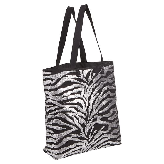 Zebra faux fur tote bag white black interior!!