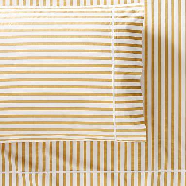 Pottery Barn Kids Emily Meritt Skinny Stripe Metallic Gold Full Sheet Set New