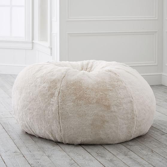 Ivory Polar Bear Faux Fur Bean Bag, Bean Bags Chair