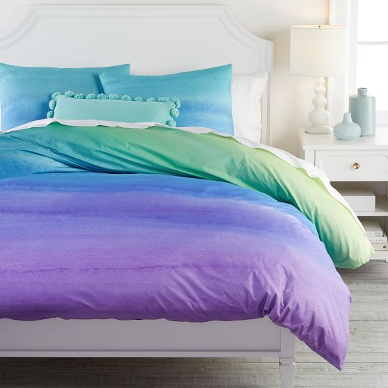 Watercolor Rainbow Organic Girls Duvet, Teal And Purple Ombre Bedding