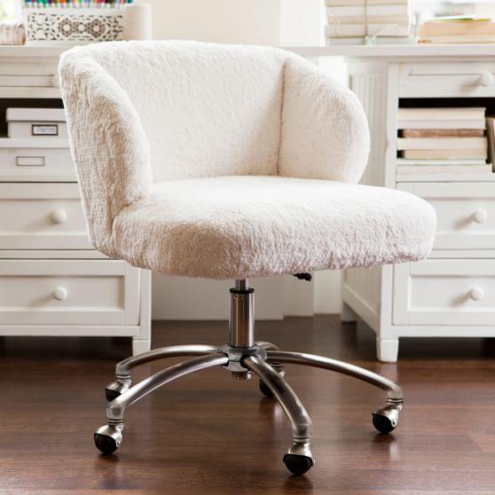 Ivory Sherpa Faux Fur Wingback Desk, Teenage Desk Chairs