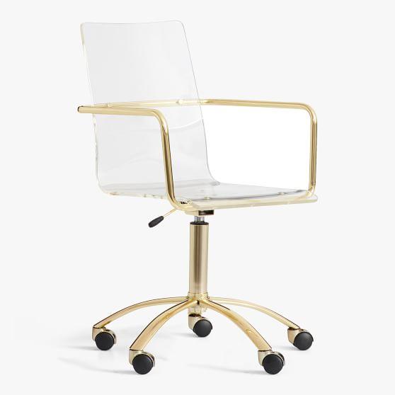 Gold Paige Acrylic Swivel Chair Teen, Teenage Desk Chairs