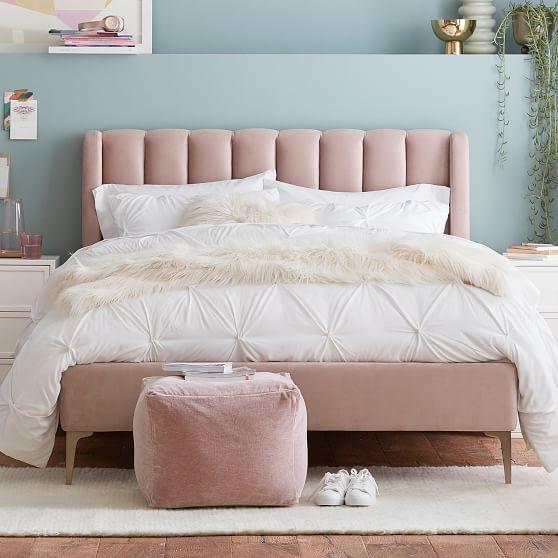 Avalon Channel Stitch Upholstered Bed, Pink Upholstered Bed Frame