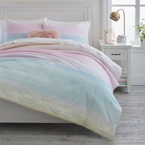 Watercolor Rainbow Ombre Comforter, Teal And Purple Ombre Bedding